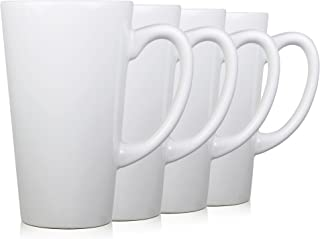 Serami White Funnel Ceramic Tall Coffee Mugs with Large Handles and 15oz Capacity, Set of 4