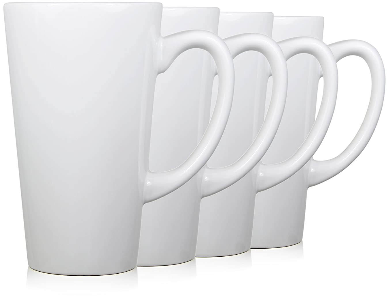 Serami 15oz White Funnel Tall Mugs for Coffee or Tea. Large Handles and Ceramic Construction, Set of 4