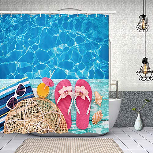 NYMB Summer Holidays in Beach Decor, Summer Flip Flops on Wooden, Polyester Fabric Shower Curtains for Bathroom, Shower Curtain Rings Included, 69X70 in, Turquoise Blue(Multi21)