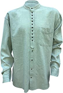 Irish Grandfather Shirt Collarless Smoke Green