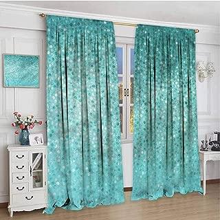 June Gissing Turquoise Boho Curtains for Bedroom 72 inch Length, Polka Dot Mosaic Room Darkening Roman Shades 63 x 72