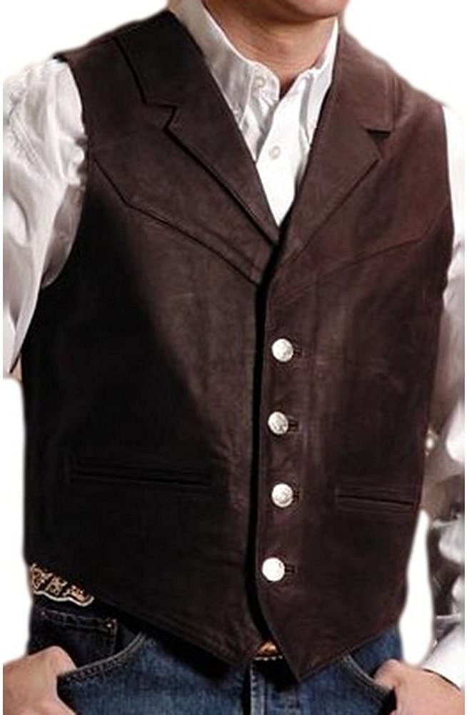 Roper Men's Nappa Notched Collar Leather Vest Big and Tall - 02-075-0510-0704 Br