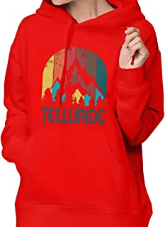 Retro City Of Telluride Womens Pullover Sweatshirt Hooded Sweatshirt Athletic Casual