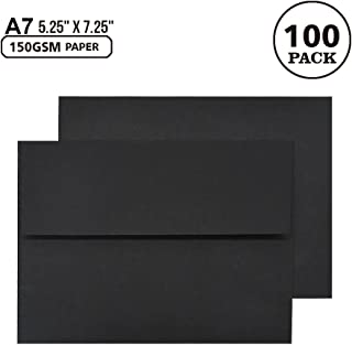A7 Black Invitation 5x7 Envelopes - Self Seal, Square Flap,Perfect for 5x7 Cards, Weddings, Birthday, Invitations, Graduation, Baby Shower, 5.25 x 7.25 Inches, 100 Pack, (Black)