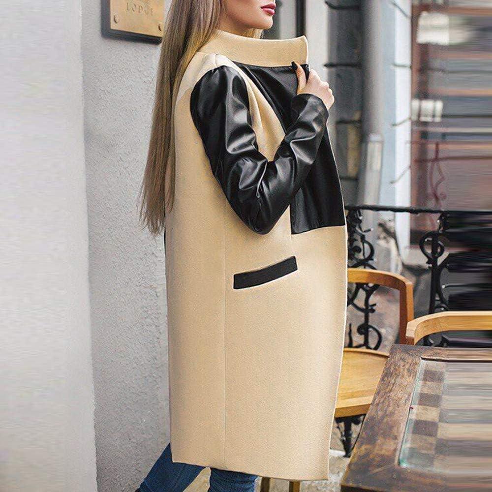 Winter Warm Women's Zipper Leather Hairy Windbreaker, 2018 Winter Patchwork Long Jacket Coat