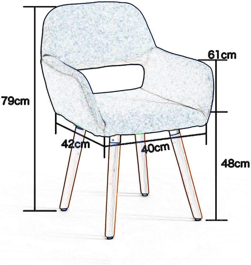 Chaises Chaise de salle à manger en bois massif en tissu de coton et lin et chaise longue pour siège à la maison rembourré confortable, 42x40x79cm (Couleur : #1) #4
