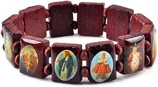 2pcs Fashion Wooden Jesus Bracelet Saints Rosary Religious Bangles Elastic Stretch Bangle