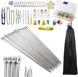 Anyasen 80 piezas Kit de tejer Kit de Ganchillos Accesorios Agujas de Tejer Kit Agujas de punto Agujas de Ganchillos para ...