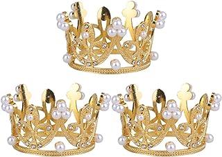 Happyyami 3pcs Mini Strass Couronne diadème Mini Couronne de mariée Princesse diadème gâteau Topper Anniversaire de Mariag...