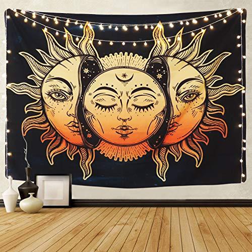 Tapiz de luna dorada y sol Tapiz psicodélico Esterilla de yoga Mandala indio Tapiz bohemio Tarot De pared (Luna dorada y sol XL / 150x200cm)