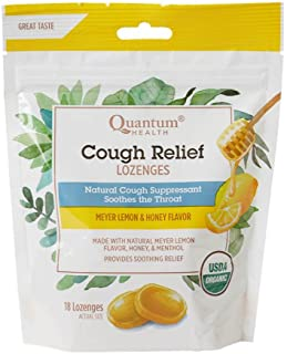 Quantum Health Organic Cough Relief Lozenges, Meyer Lemon & Honey, Natural Menthol Cough Suppressant, Bagged, 18 Ct.