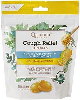 Quantum Health Organic Cough Relief Lozenges, Meyer Lemon & Honey, Natural Menthol Cough Suppressant, Bagged, 18 Ct.