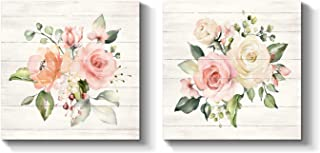 Flowers Picture Wall Art Print: Floral Painting Blossom Artwork on Wrapped Canvas for Bedroom or Office (12'' x 12'' x 2 Panels)