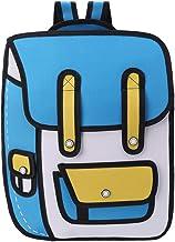 ForHe 3D Jump Style 2D Drawing From Cartoon Paper Backpack School Comic Bookbag Waterproof Travel Daypack,Nylon,Sky Blue