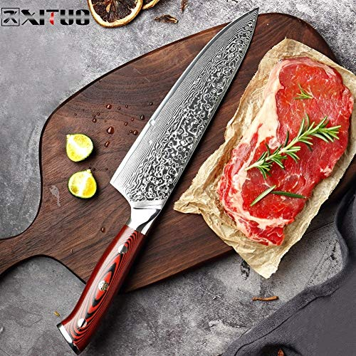 Koksmes Damascus Kitchen Koksmes 8 Inch Professional Japanse Cleaver Slice Universele messen Exquisite Gift met Mes Cover Scherp (Color : A)
