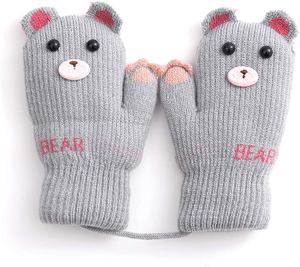 Baby Boys Girls Winter Knitted Mittens Warm Fleece Lined Gloves for Kids 0-3 Years