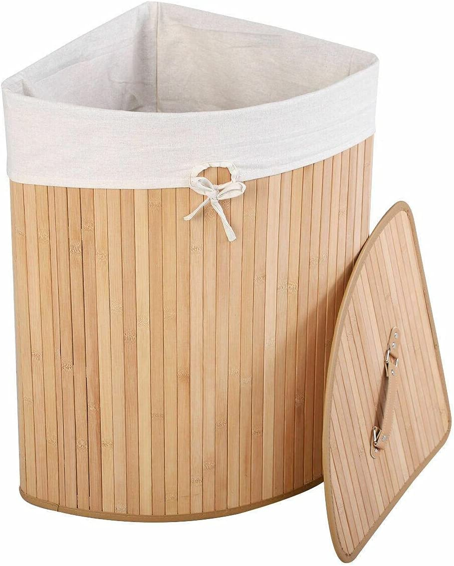 Corner Bamboo OFFer Hamper Laundry Basket Washing Cloth Selling rankings Bin Lid Bag La