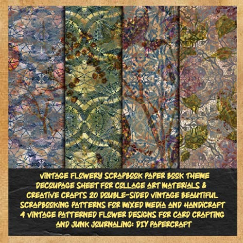vintage flowery scrapbook paper book theme decoupage sheet for collage art materials & creative crafts 20 double-sided vintage beautiful ... flower designs for card crafting and