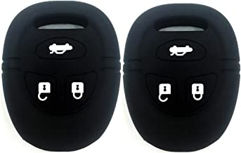 Ezzy Auto Pack 2 Black Silicone Rubber Key Fob Case Key Covers Key Jacket Skin Protectors fit for 2003-2009 Saab 9-5
