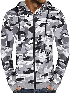 iZHH Men's Autumn Camouflage Print Zipper Hooded Sweatshirt Outwear Blouse