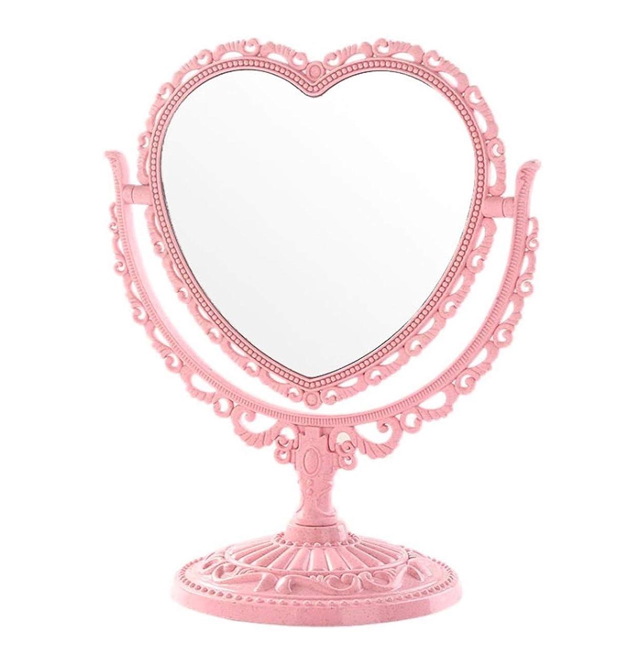 差別的悪いリース[クイーンビー] 卓上 ミラー ハート 型 かわいい お洒落 メイク アップ コスメ 美容 化粧 鏡 スタンド 360度 回転 女の子 お姫様 便利 デスク プレゼント (ピンク)