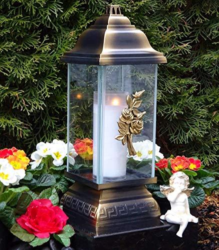 ♥ Grablaterne Grablampe Rosen Ornament Bronze 34,0cm incl. Grabkerze Grablicht Grabschmuck Grableuchte Laterne Kerze Lampe Licht
