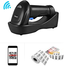 Decdeal WM3L 433MHz Wireless 1D 2D Auto Image Barcode Scanner Handheld QR code PDF417 Bar Code Reader 200m/656ft Range 1300t/s Fast Speed with Cradle for Mobile Payment Supermarket Store Warehouse