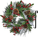 "22"" Christmas Wreath Artificial Pine Wreath with Pine Needles Spruce Red Berries Pinecones Flocked Cedar Twigs Grapevine Wreath Holiday Front Door Wreath for Christmas Seasonal Decoration"
