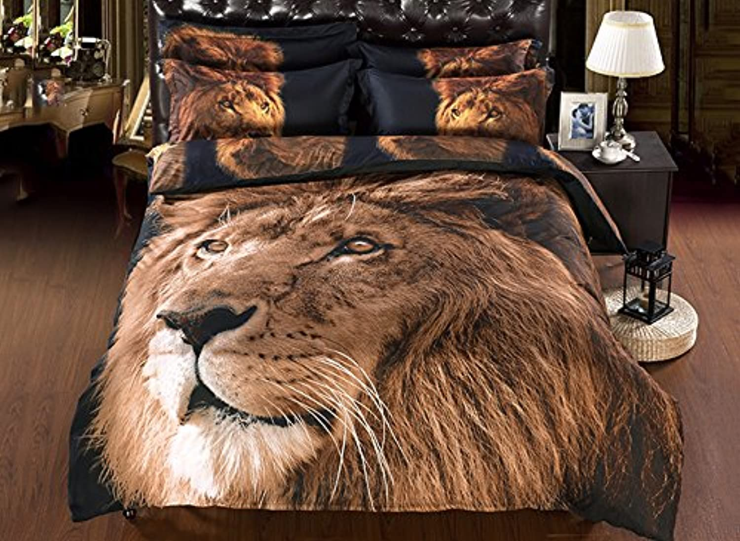 Babycare Pro 3D Bedding Sets Queen Size Brown Lion,Duvet Cover Set with Flat Sheet Queen Polyester 4 Pieces,2 Pillowcases,1 Duvet Cover,1 Flat Sheet, No Comforter,(Queen)