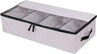 In kds Organiseur de Chaussures Multifonction Pliable sous Le lit avec Couvercle Anti-poussière 4 Compartiments Gris