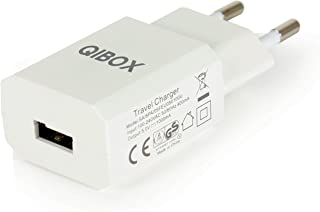 QIBOX USB AC Power Adapter Travel Wall Charger 5V 1A with Europe Wall Plug for Apple iPhones, Samsung Cell Phones, Google Pixel XL, HTC, LG, BlackBerry - CE Approved