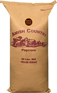 Amish Country Popcorn - 50 Pound Bag of Purple Kernels - Perfect for Fundraisers - Old Fashioned Non GMO, Gluten Free, Microwaveable, Stovetop and Air Popper Friendly with Recipe Guide