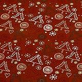 Dekostoff Weihnachten mit Glitzereffekt, Tannenbäume,