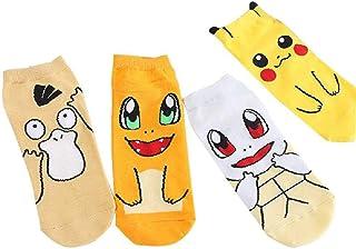 ZHANGNUO, 4 Pares De Calcetines De Dibujos Animados Lindos Calcetines De Dibujos Animados De Pokemon Pikachu Calcetines De Algodón Puro para Mujer