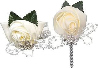 TtMarket 2pcs Set-Corsage and Boutonniere Set White for Wedding Prom Corsage Wristlet Boutonniere Wrist Corsage, Groom Groomsman Best Man and Girl Bracelet Bridesmaid Prom Corsage Wristlet
