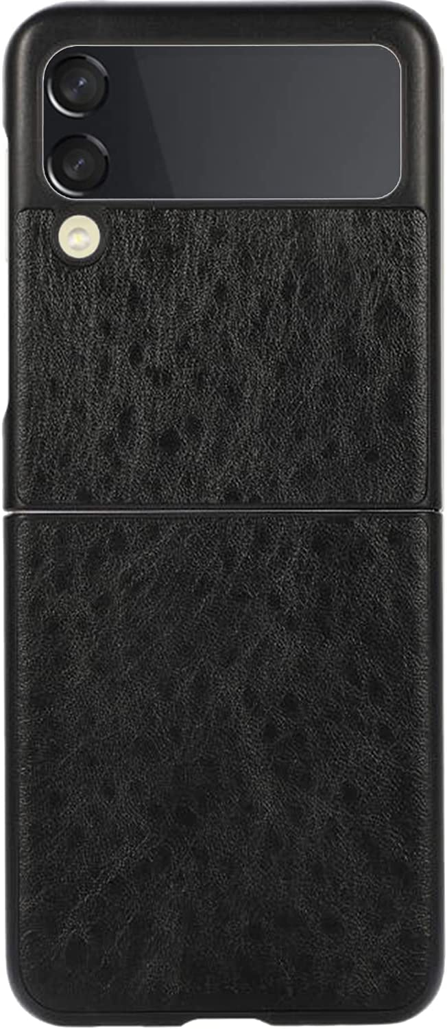 Phone Case for Galaxy Z Flip 3, PU Leather Back Cover Protector Case PC Hard Shockproof Protection Cover Shell Compatible with Samsung Galaxy Z Flip 3 5G (Black)