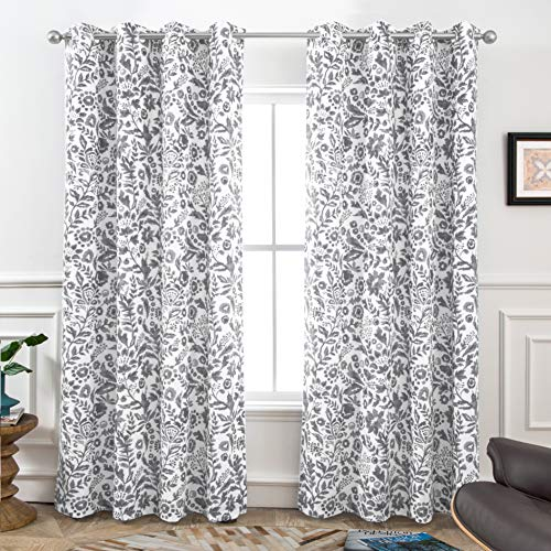 DriftAway Julia Watercolor Blackout Room Darkening Grommet Lined Thermal Insulated Energy Saving Window Curtains 2 Layers 2 Panels Each Size 52 Inch by 84 Inch Gray