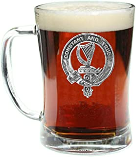 Rose Scottish Clan Crest Badge Glass Beer Mug