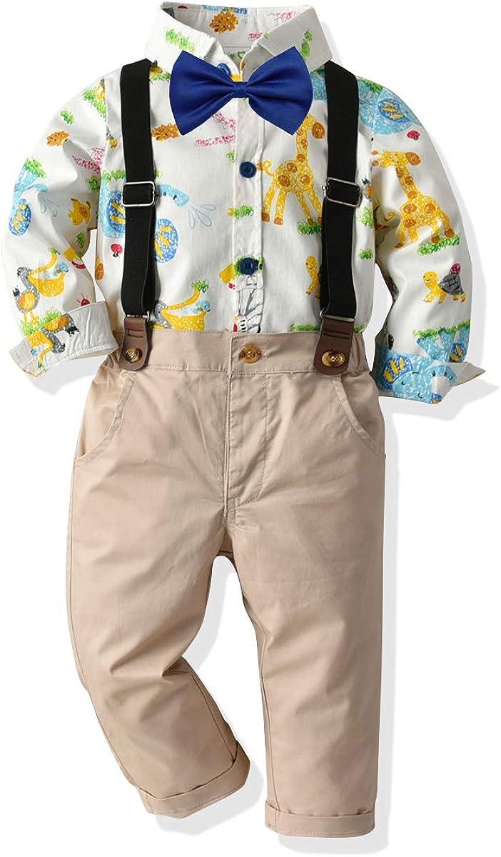 Baby Boys Dinosaur Long Sleeve Shirt Gentleman Suspender Pants Clothing Set Romper Jumpsuit Clothes Toddler 4Pcs Outfit