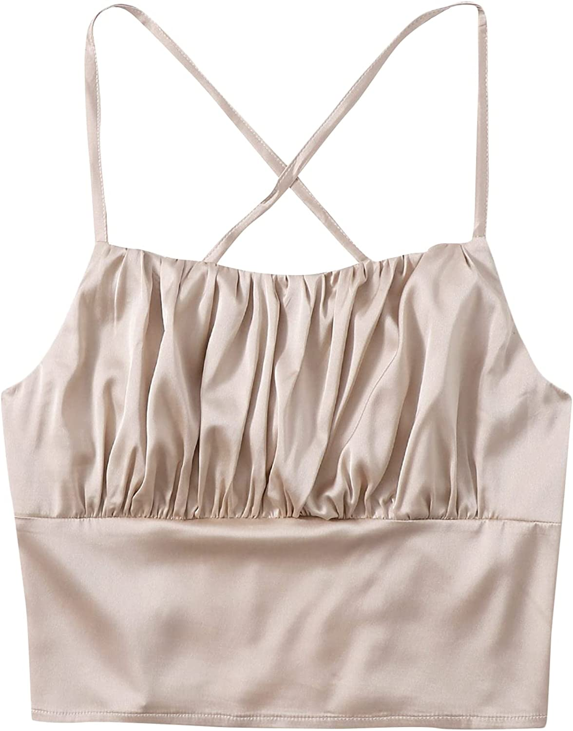 Milumia Women Criss Cross Backless Satin Cami Crop Top Spaghetti Strap Ruched Camisole