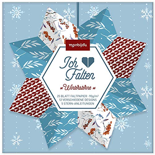 Ich liebe Falten – Wintersterne: 25 Blatt Faltpapier (monbijou)