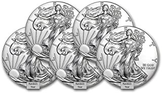 1986 - Present (Random Year) Lot of (5) 1-Ounce American Silver Eagle $1 .999 Fine Silver Brilliant Uncirculated US Mint