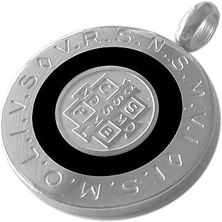 Ben Junot USA - Original Catholic - 28 MM Round Saint Benedict Medal with White Blue or Black Color Enamel - Medalla San Benito - 1.1 Inches Diam (Black)