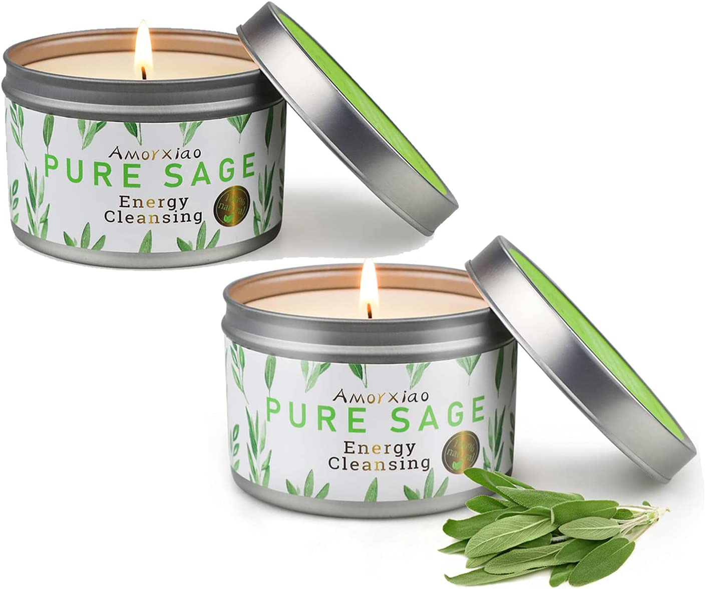 Very popular Sage Scented Candle 2 Price reduction Pack of Home Aromatherapy 4.6 Oz Natural