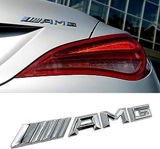 KENPENRI Rear AMG Emblems for 2014-2016 Mercedes-Benz,3D Decal Nameplate Car Decal Logo Badge Sticker - Chrome Silver