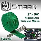 Stark Thermal Wrap 2' Wide x 50' Long - Fiberglass Heat Shield Exhaust Manifold/Header Wrap - Green