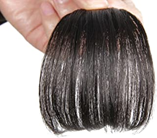 Remeehi Gorgeous Real Human Hair Flat Bangs/Fringe Hand Tied Bangs With Temples Mini Fashion Clip-In Hair Extension Natural Black