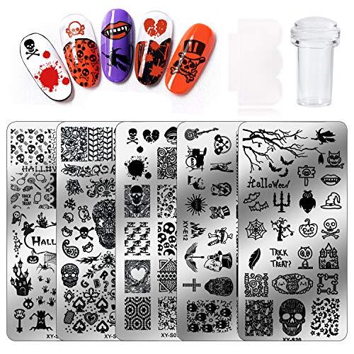 HOWAF Set di Halloween Nail Art Stamping Stampini 5pcs Unghie Piastre Nail Template Piastra per Unghie+ 1pcs Raschietto+1pcs Stamper per Halloween Decorazione Unghie Manicure