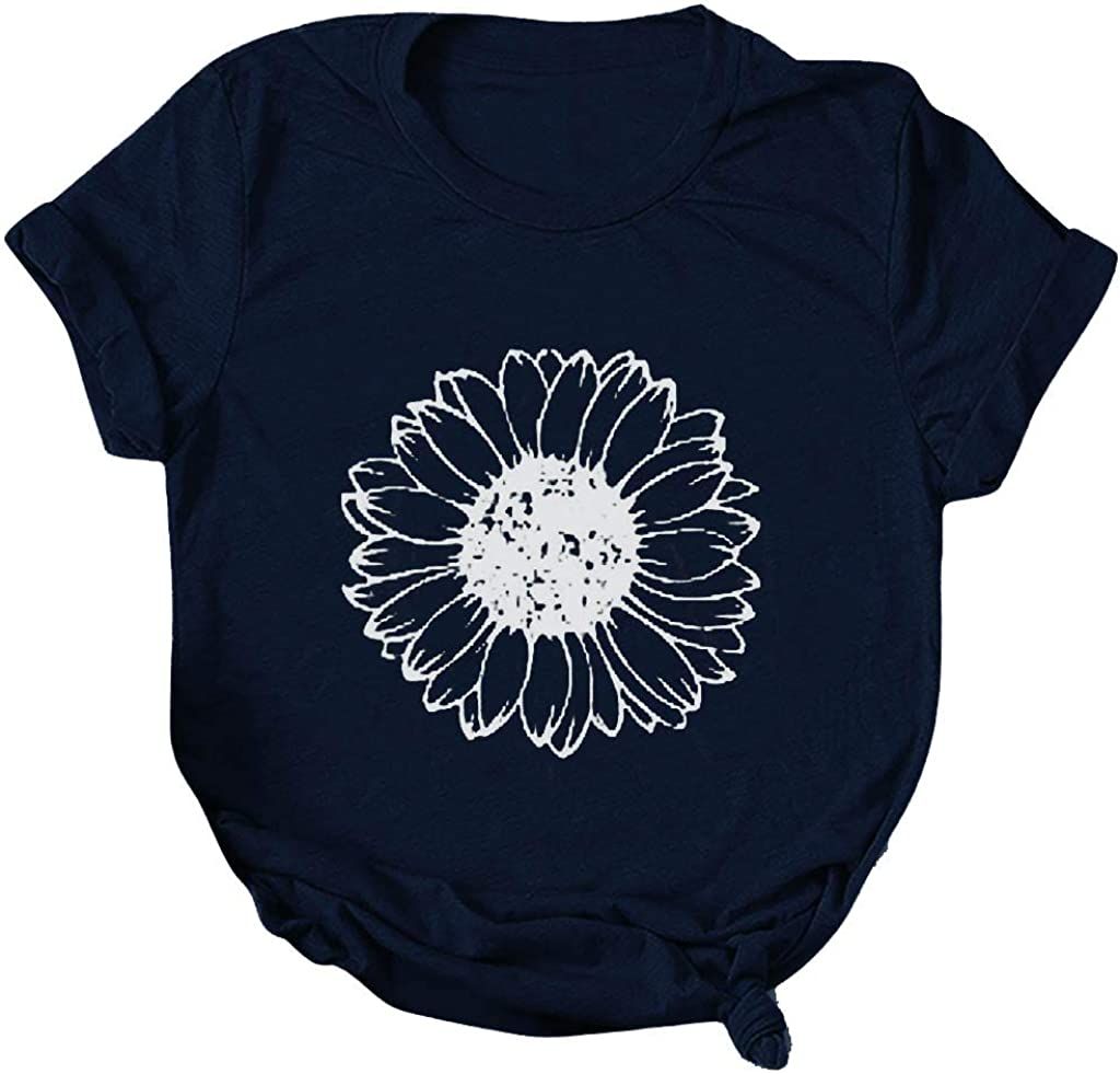 YUehswet Womens Short Sleeve Tops,Womens Sunflower Shirts Funny Floral Graphic Tee Casual Summer Short Sleeve T Shirt Tees