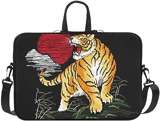 Embroidery Tiger Japanese Vintage Style Illustrat Pattern Briefcase Laptop Bag Messenger Shoulder Work Bag Crossbody Handbag for Business Travelling